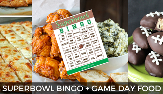 Superbowl 50 Printable Bingo + Game Day Menu GinaKirk.com @ginaekirk