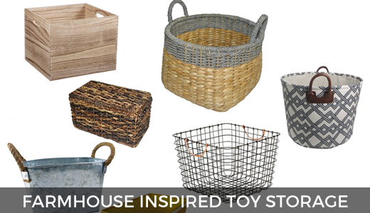 Vintage farmhouse inspired toy storage @ginaekirk GinaKirk.com