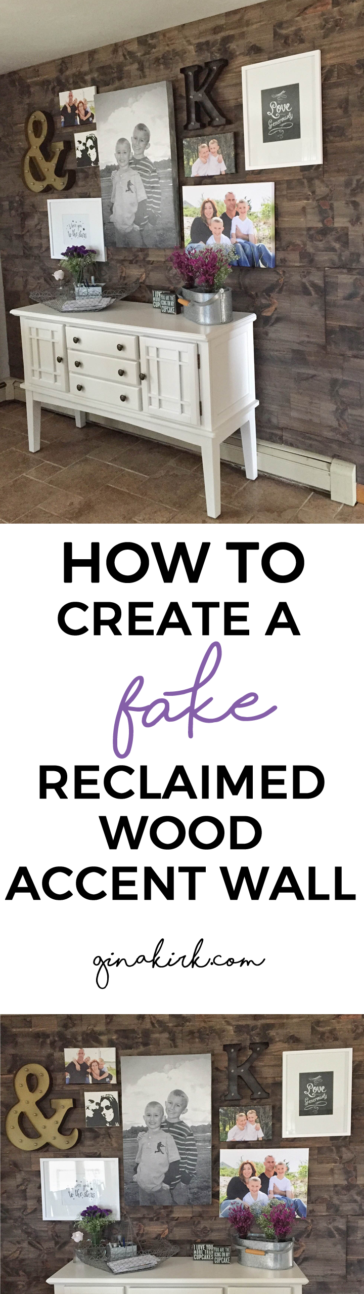 How to fake a reclaimed wood accent wall - faux reclaimed wood accent wall - DIY tutorial! GinaKirk.com