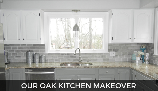 Oak Kitchen Makeover - 2 toned gray and white cabinets and gray subway tile (for under $2000!) GinaKirk.com