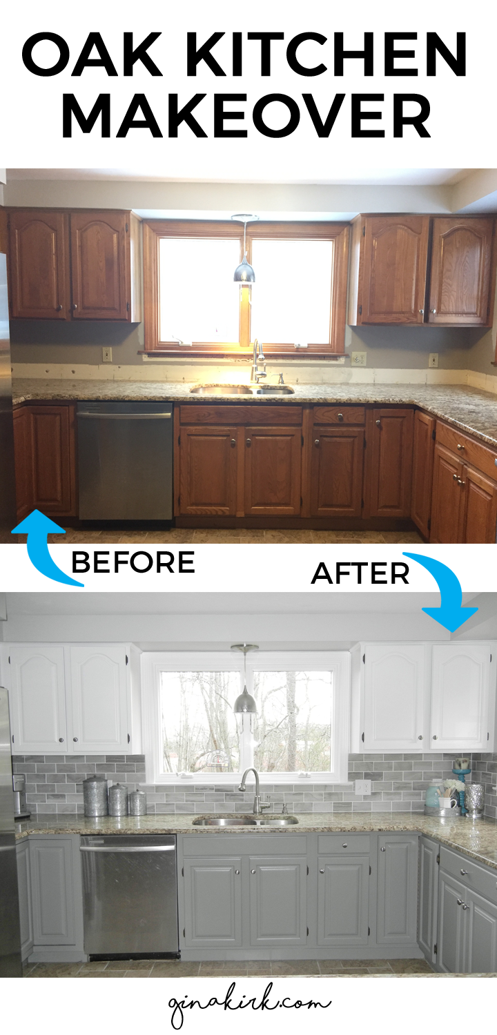 Our oak kitchen makeover for Gray and white kitchen cabinets