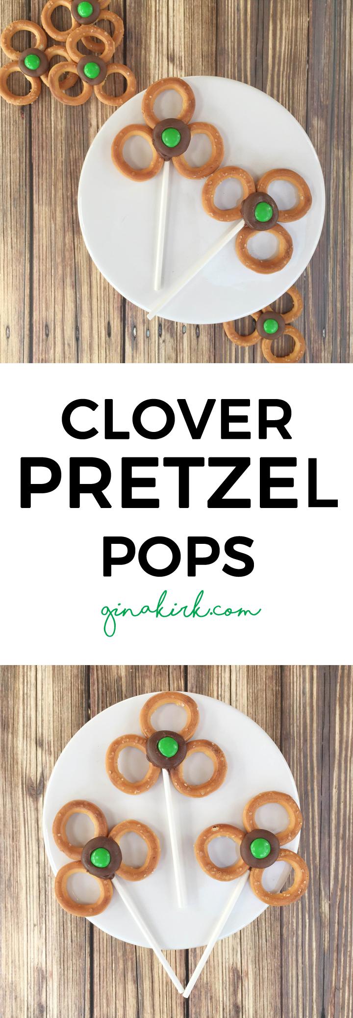 St. Patrick's Day clover pops | St. Patrick's Day snack idea | Leprechaun snacks | Kid snack ideas | GinaKirk.com @ginaekirk