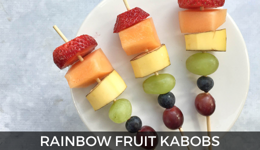 Rainbow fruit kabobs | St. Patrick's Day breakfast | Rainbow food ideas | GinaKirk.com @ginaekirk