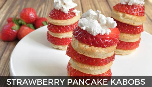 Strawberry shortcake pancake kabobs | pancake kabob recipe | strawberry shortcake breakfast ideas | GinaKirk.com @ginaekirk