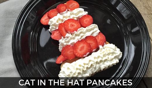 Cat in the Hat pancake breakfast - Happy Birthday Dr. Seuss - Dr. Seuss Cat in the Hat ideas! @ginaekirk GinaKirk.com
