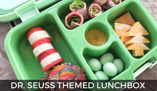 Dr. Seuss themed lunch - bento box style - Dr. Seuss lunch! Happy Birthday Dr. Seuss! GinaKirk.com @ginaekirk