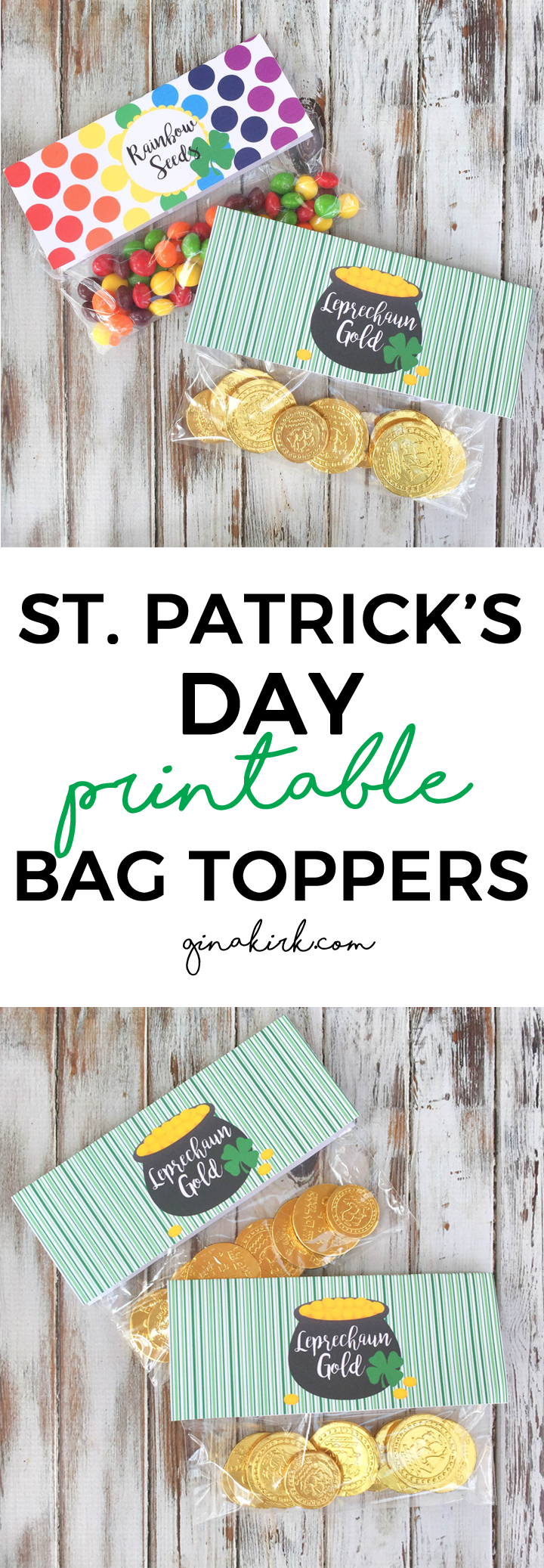 St. Patrick's Day printables | Bag toppers | Leprechaun printables | St. Patricks Day gift ideas | GinaKirk.com @ginaekirk