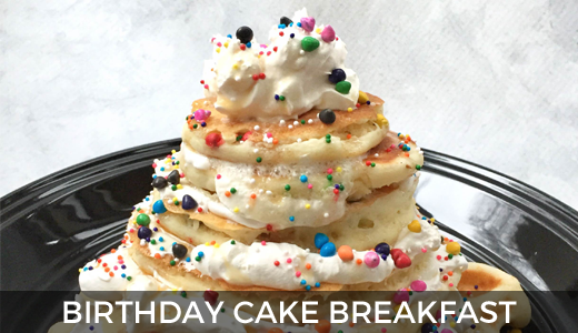 Birthday cake breakfast | birthday breakfast ideas | pancake birthday breakfast | breakfast birthday cake recipe | GinaKirk.com @ginaekirk