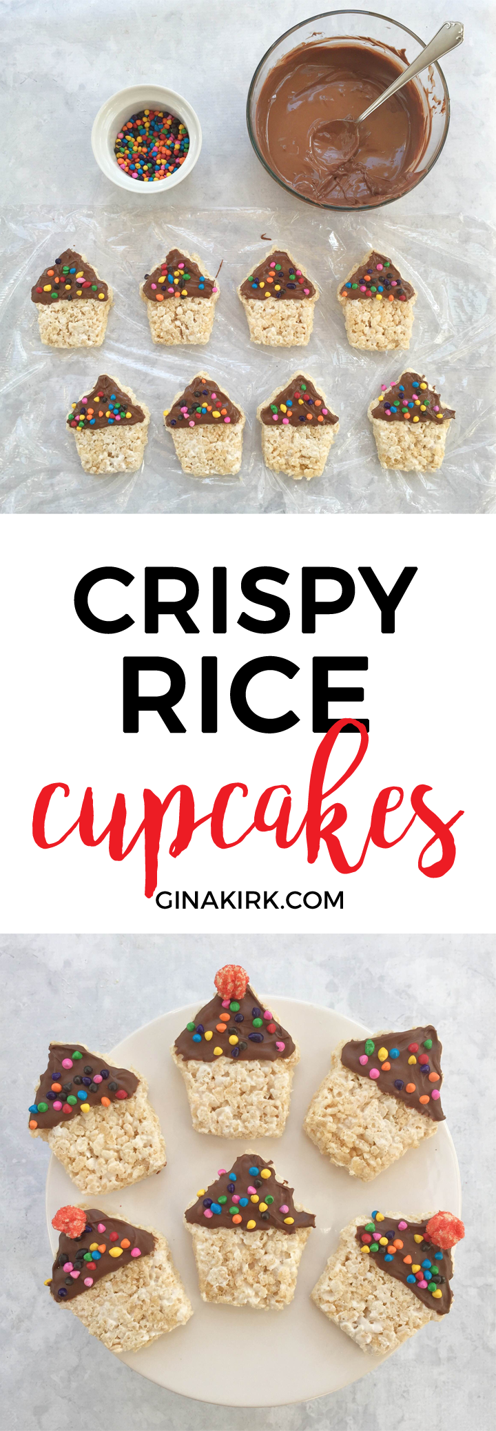 Crispy rice birthday cupcakes | Rice krispie treats | Easy birthday snack ideas | DIY birthday party food | GinaKirk.com @ginaekirk