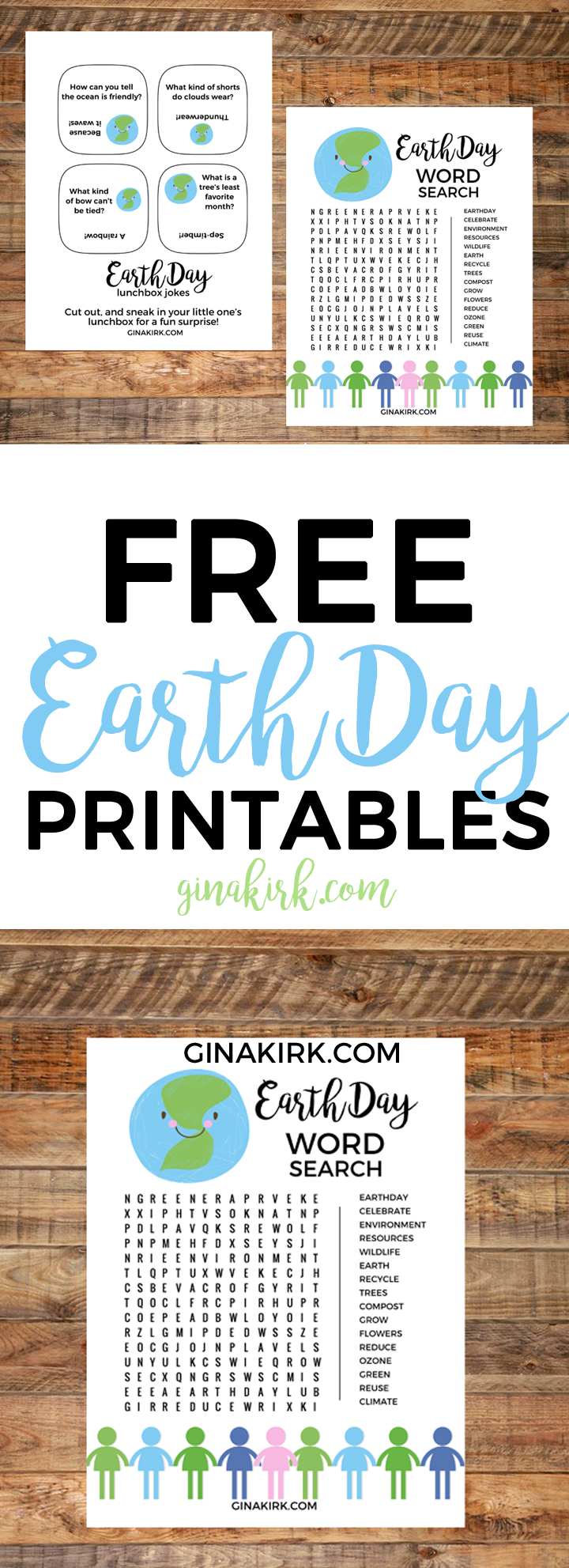 Free Earth Day printables | Earth Day lunchbox jokes | Earth Day word search | Earth day ideas for kids | GinaKirk.com @ginaekirk
