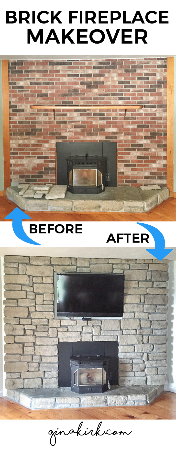 Brick fireplace makeover | Stone veneer fireplace | Stone veneer over brick | Stone fireplace with TV mounted | GinaKirk.com @ginaekirk