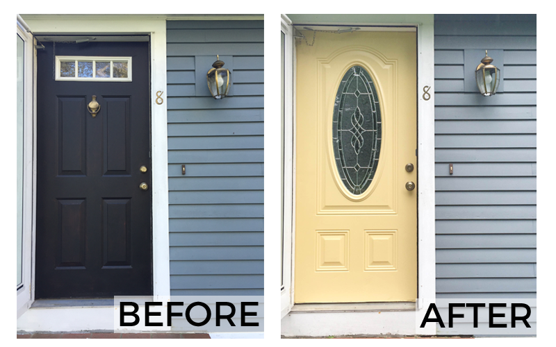 How to change an exterior door | Yellow front door before and after | #SToKCoffee #cbias #ad