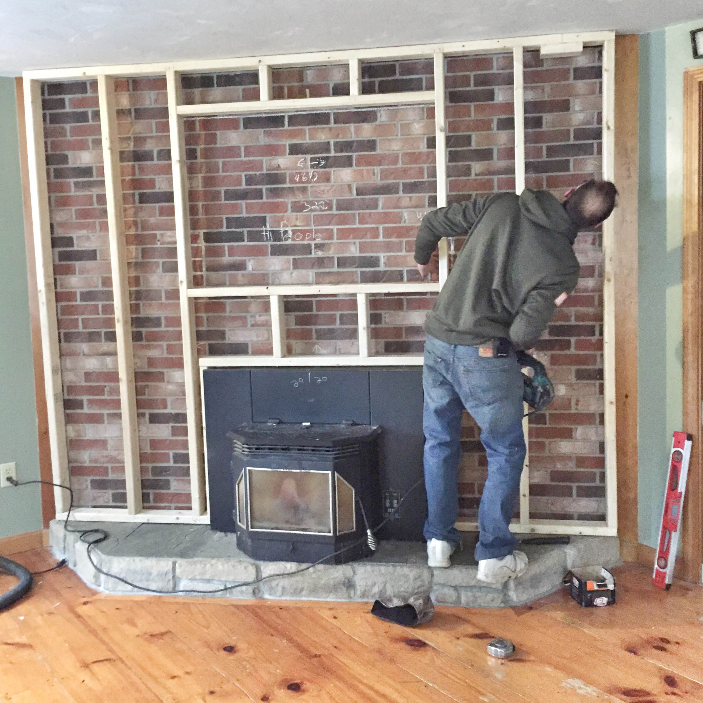 brick fireplace makeover brick to stone veneer fireplace makeover how to do a stone - How To Stone Veneer Fireplace