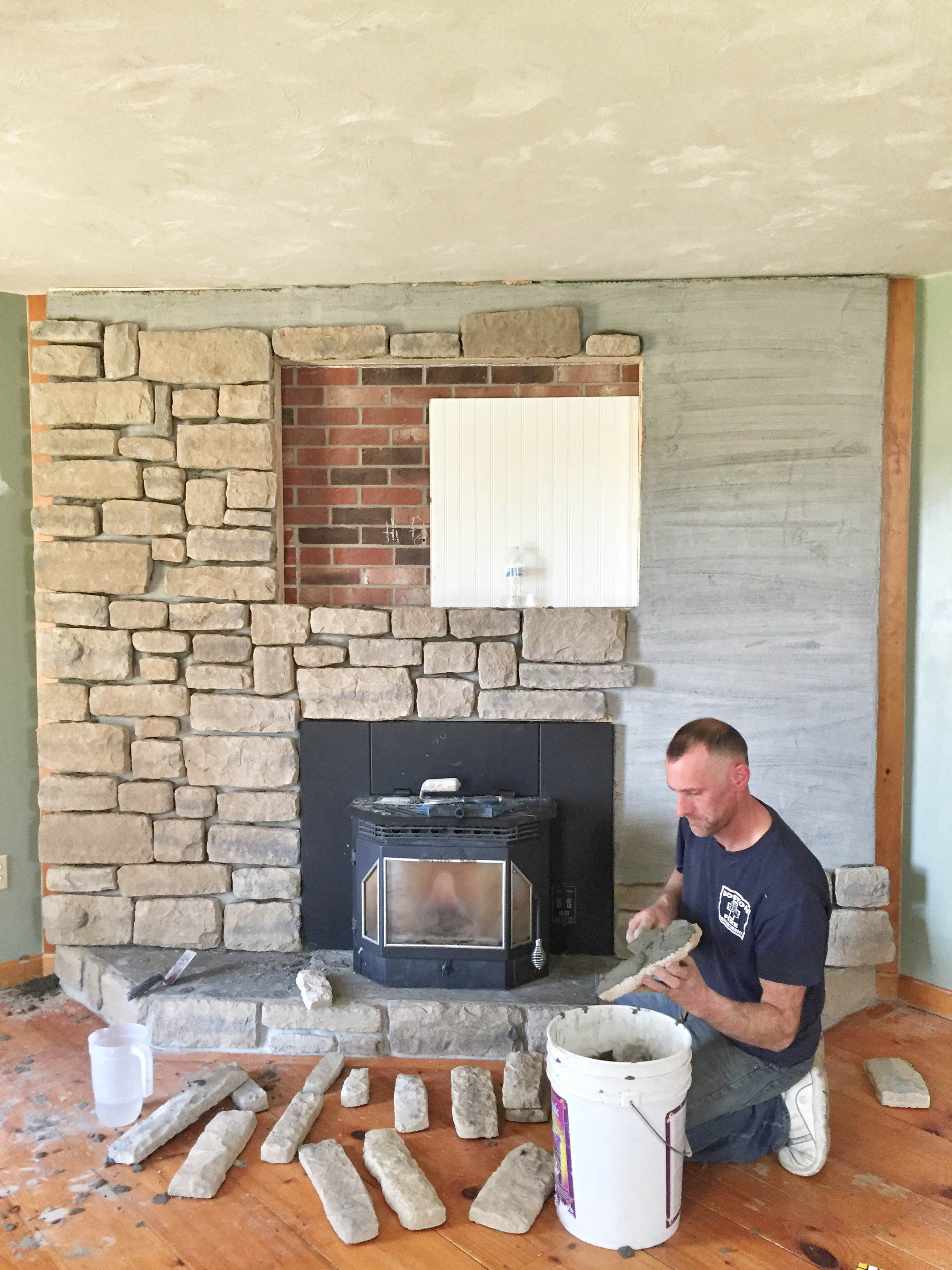 our brick fireplace makeover
