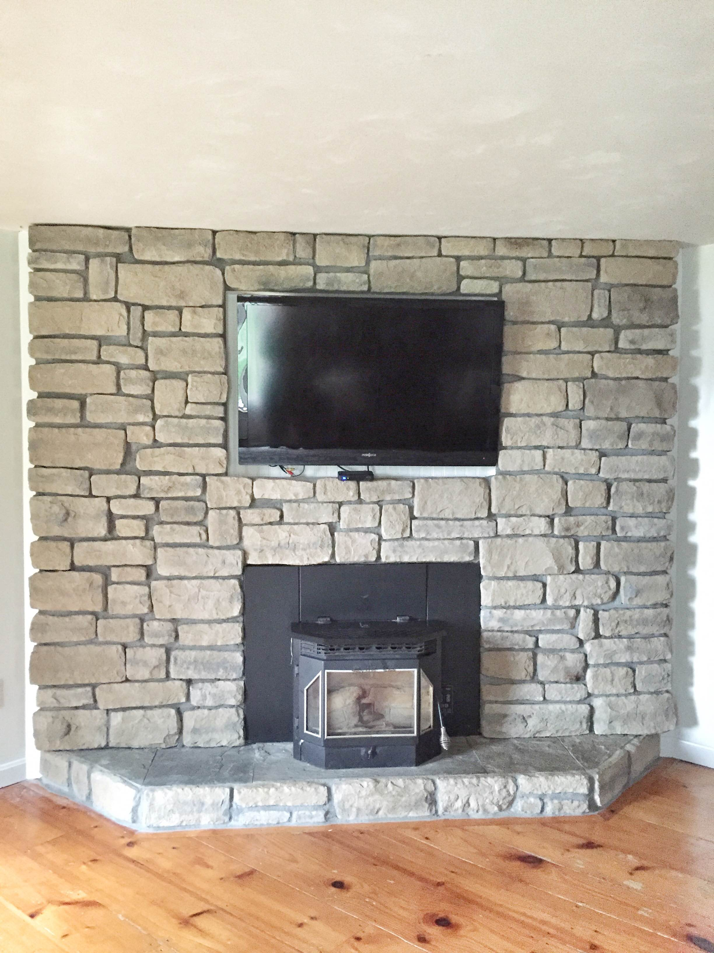 refacing brick fireplace with veneer this for