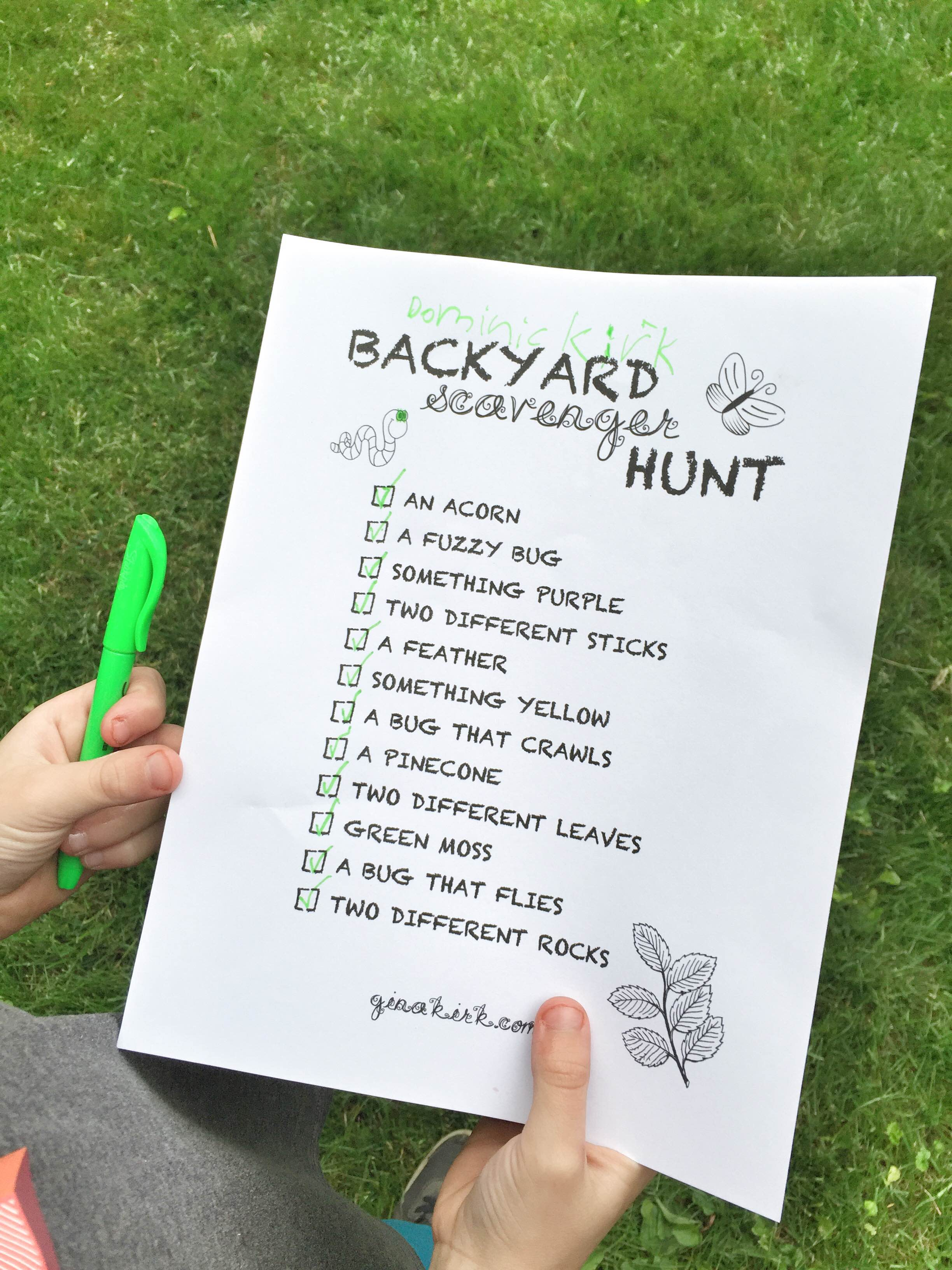 summer scavenger hunt in your backyard is she really