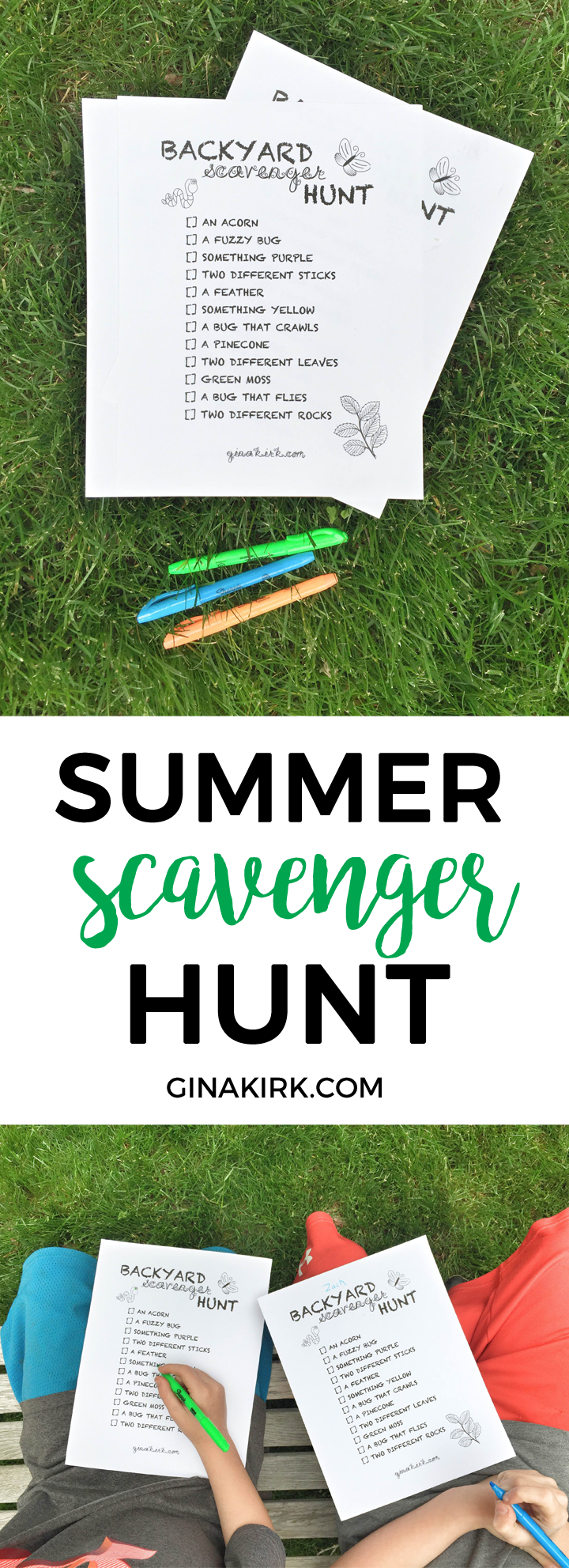 Backyard scavenger hunt | Free printable backyard nature hunt | Host a scavenger hunt ice cream party in your backyard! GinaKirk.com @ginaekirk