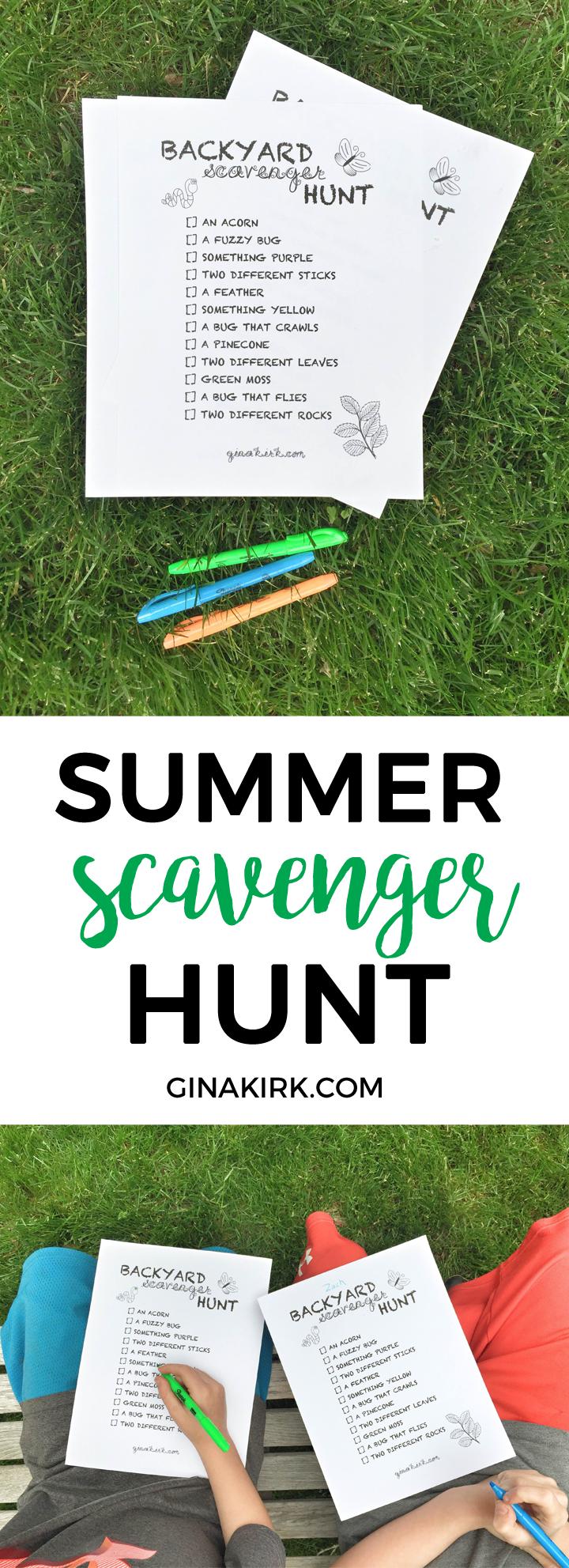 Backyard scavenger hunt | Free printable backyard nature hunt | Host a scavenger hunt ice cream party in your backyard! GinaKirk.com @ginaekirk