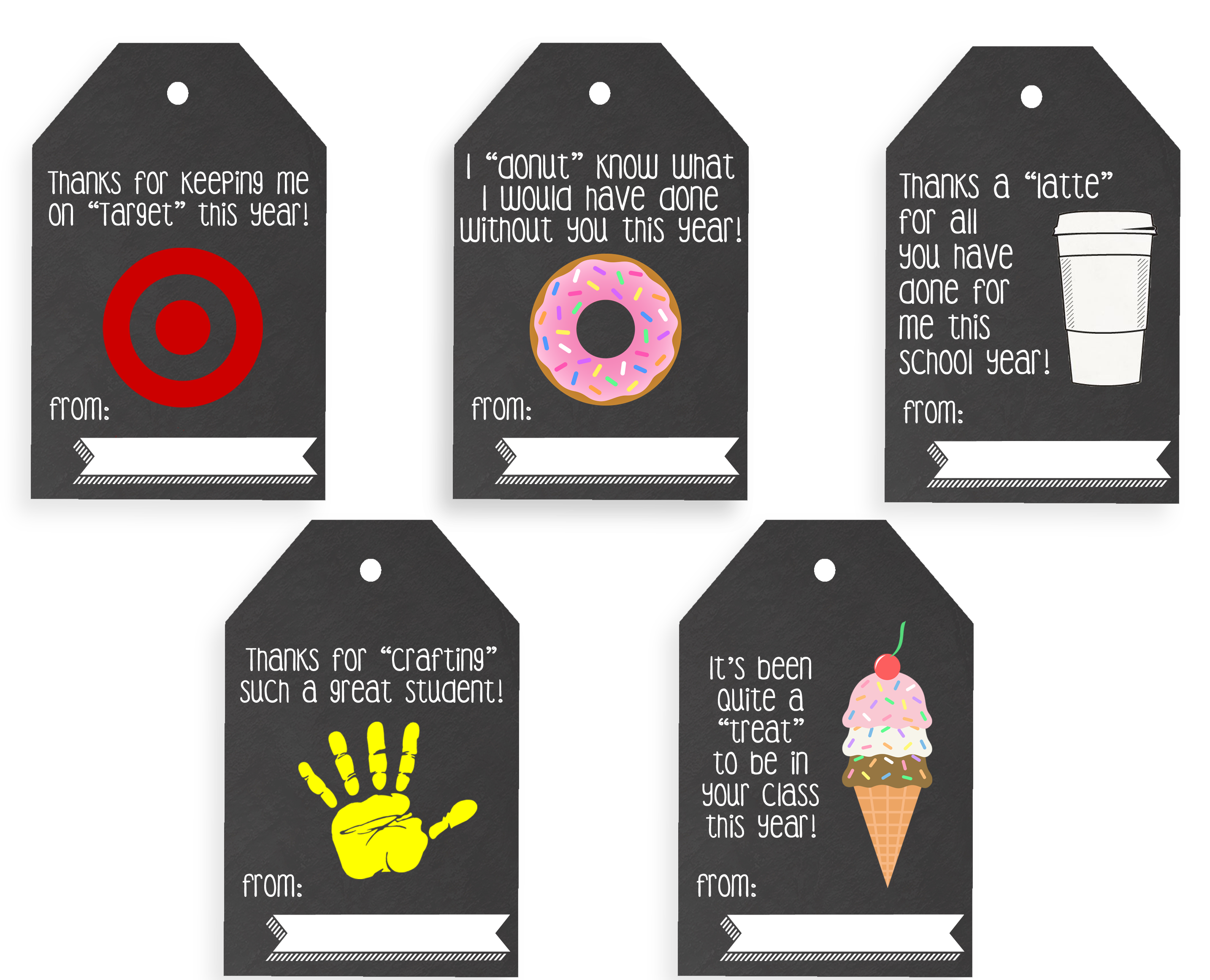 Bright image inside printable teacher gift tags