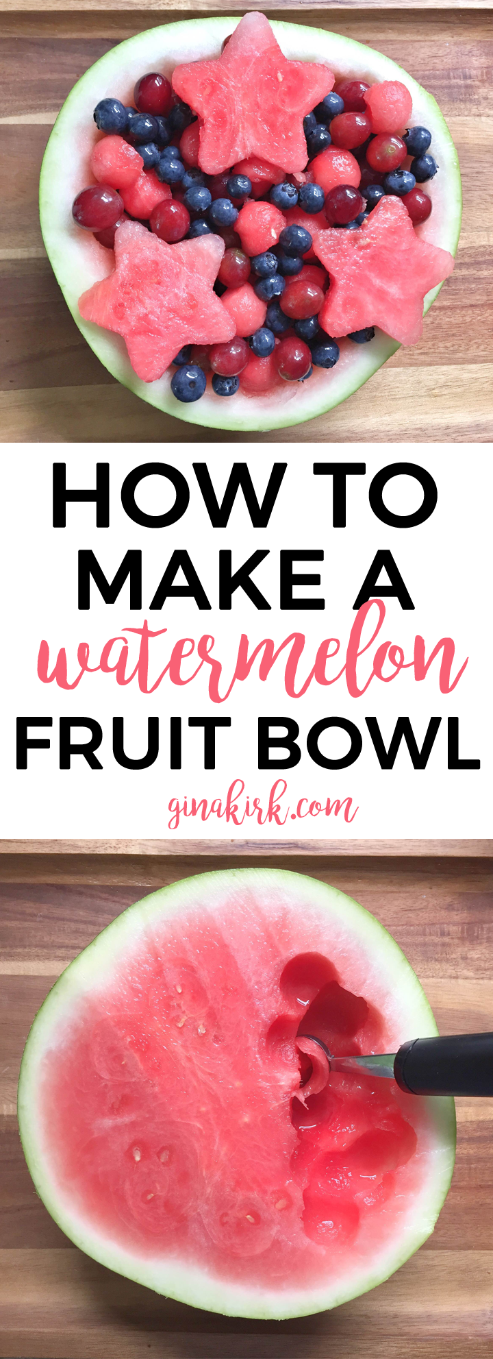 How to make a watermelon fruit bowl | 4th of July party fruit | 4th of July snack idea | How to make watermelon fruit salad GinaKirk.com @ginaekirk