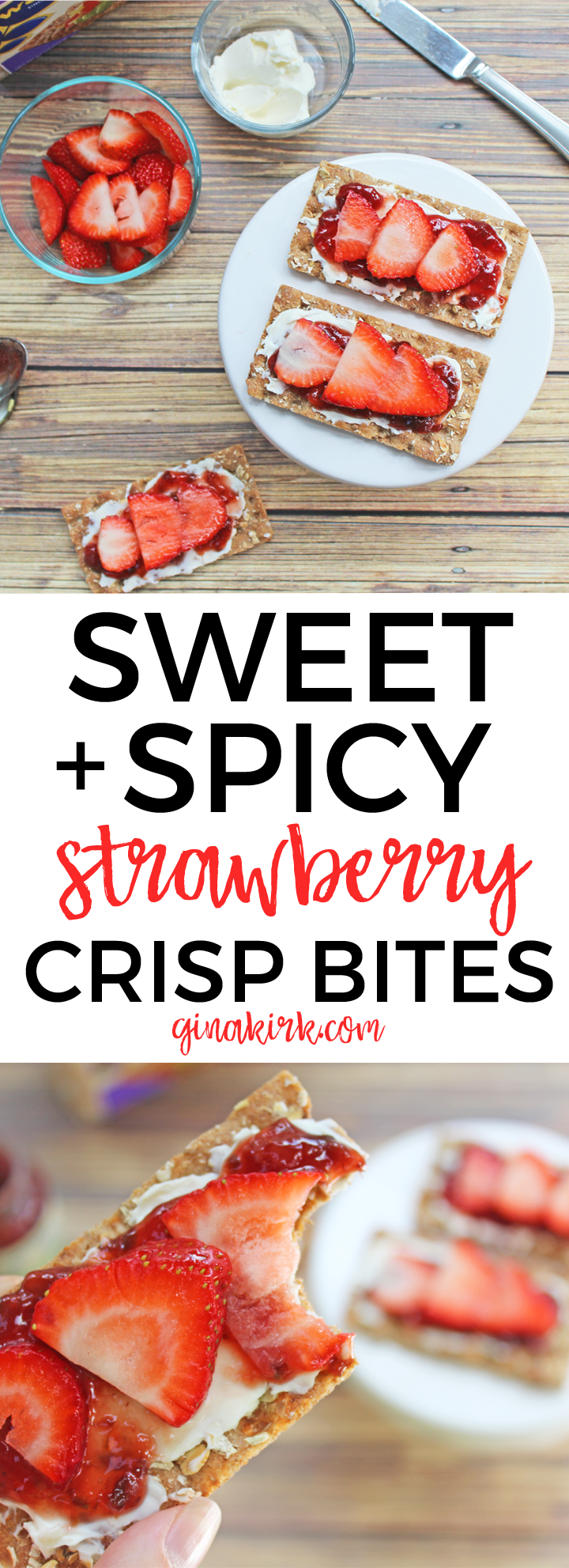 Sweet & Spicy Strawberry Cracker Bites | The perfect EASY no bake party appetizer or anytime snack! | GinaKirk.com