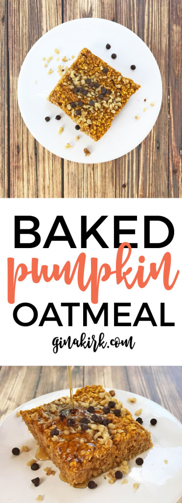 Pumpkin baked oatmeal | baked pumpkin oatmeal | Easy fall breakfast idea GinaKirk.com @ginaekirk