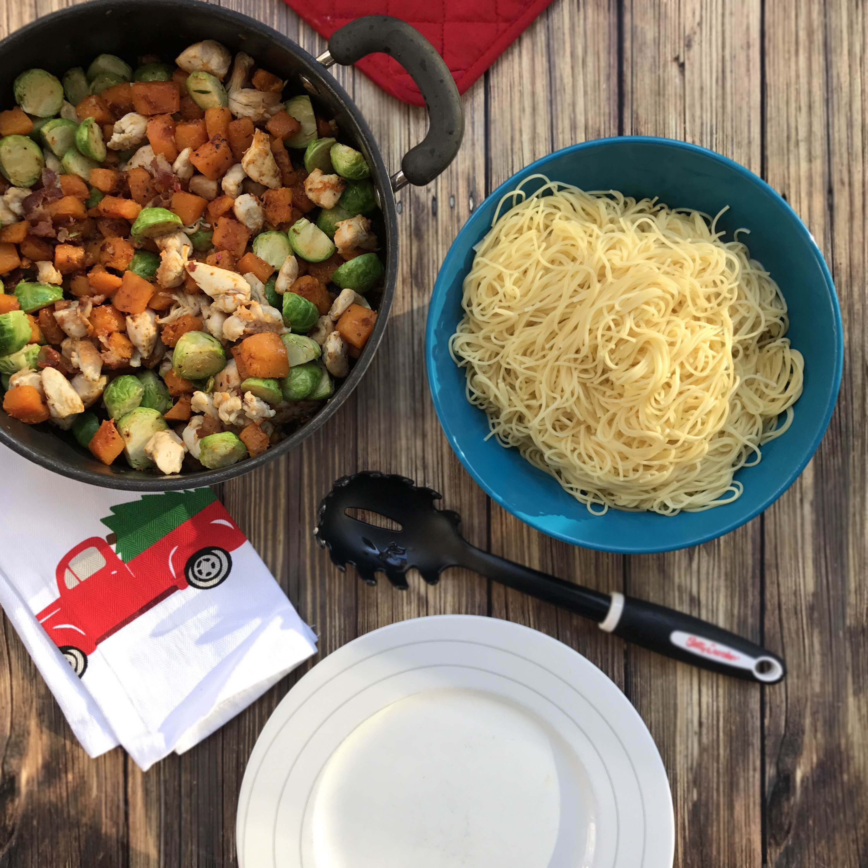 Maple butternut squash and chicken pasta | Angel hair with squash and brussels sprouts | Brussels sprouts and squash over pasta | Easy winter pasta recipes | GinaKirk.com @ginaekirk