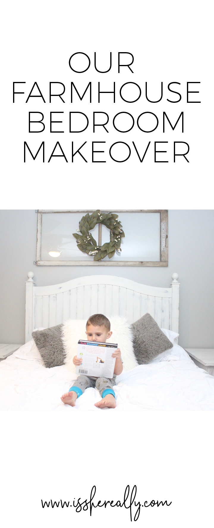 Simple and modern farmhouse master bedroom decor and makeover by @ginaekirk at www.isshereally.com